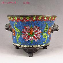 Chinese Bronze Cloisonne Incense Burner w Ming Dy Jingtai Mark