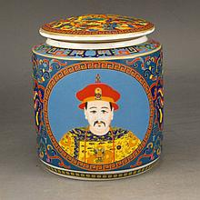 Hand-painted Chinese Enamels Porcelain Tea Caddy w Yong Zheng Mark