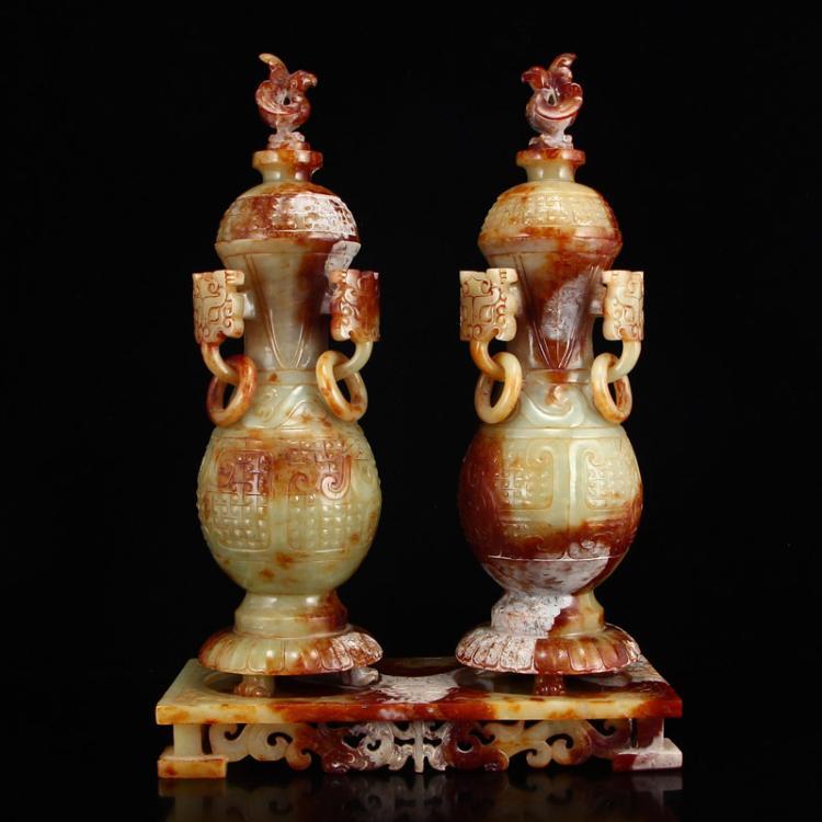 A Pair Vintage Chinese Hetian Jade Phoenixes Vases