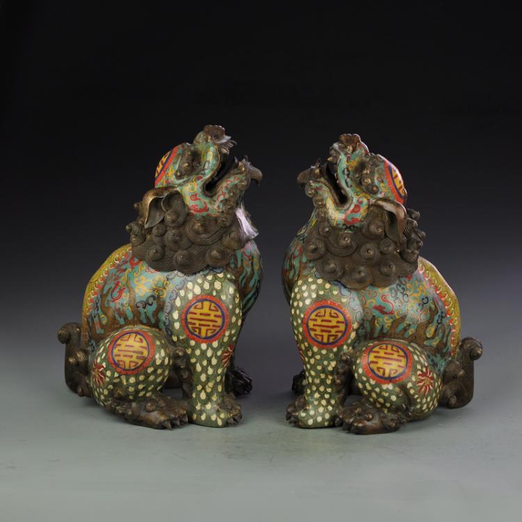A Pair Vintage Chinses Bronze Cloisonne Lions Incense Burner