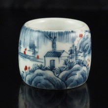 Hand-painted Chinese Doucai Porcelain Thumb Ring