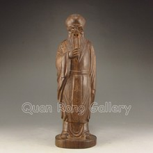 Hand-carved Chinese Chenxiang Hard Wood Statue - Longevity Taoism Deity