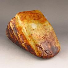 Chinese Natural Hetian Jade Original Stone / Gamble Stone Statue