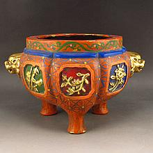 Chinese Brass Gold-plating Carved Flower Colored Temple Incense Burner w Xuan De Mark