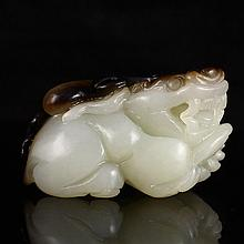 Hand Carved Chinese Natural Hetian Jade Pendant - Fortune Toad