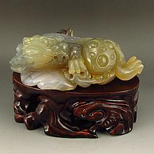 Beautiful Color Hand Carved Chinese Natural Agate - Fortune Toad
