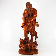 19Th C Chinese Qing Dy Natural Boxwood Statue Carved Fisherman