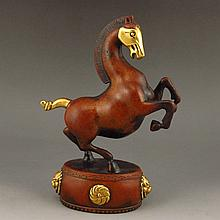 Chinese  Carved Gilted Copper Statue w Horse