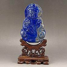 Hand Carved Chinese Natural Lapis Lazuli Statue - Kwan-yin