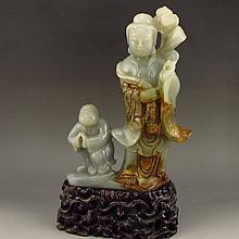 Vintage Chinese Natural Hetian Jade Statue - Lotus Flower Kwan-yin & Fortune Kid
