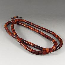 Chinese Natural Hai Nan Huang Hua Li Wood Column Beads Necklace