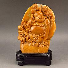 Superb Hand Carved Chinese Natural Shoushan Stone Statue - Laughing Buddha & Fortune Kid