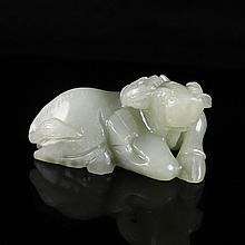Hand-carved Chinese Natural Hetian Jade Pendant - Ox