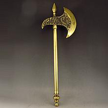 Chinese Brass Carved Dragon Axe Statue