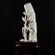 Hand-carved Natural Jadeite / Jade Statue - Bamboo