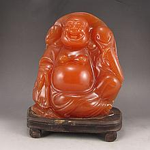 Excellent Hand Carved Chinese Natural Shoushan Stone Statue - Laughing Buddha