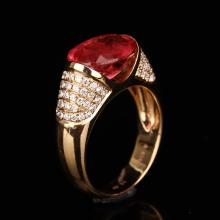 18K Solid Gold 4.35ct Ruby 0.496ct Natural Diamond Ring