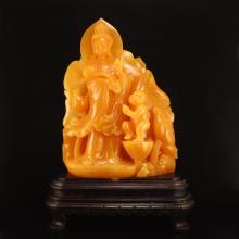 4.4 kg Indonesia Jin Tian Huang Statue - Kwan-yin & Kid w Certificate