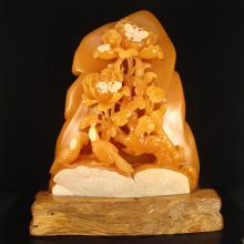 Indonesia Jin Tian Huang Statue - Magpie & Peony w Certificate