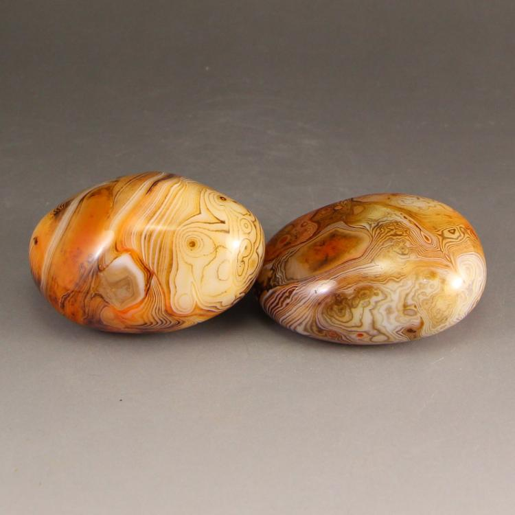 A Pair Chinese Agate Original Stone Gymnastic Ball