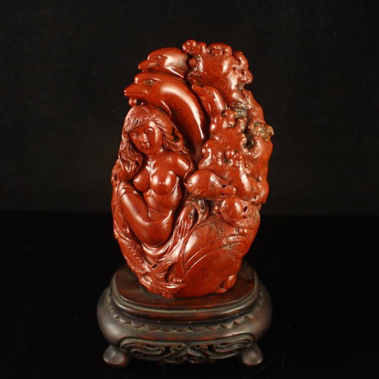Chinese Natural Shoushan Stone Statue - Mermaid