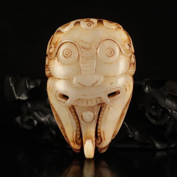 Vintage Chinese Hetian Jade Beast Head Belt Buckle