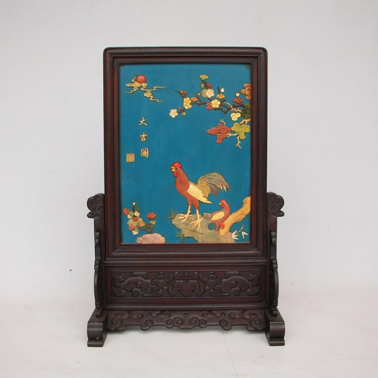 Chinese Qing Dynasty Zitan Wood Lacquerware Inlay Shells Gems Screen w Chickens