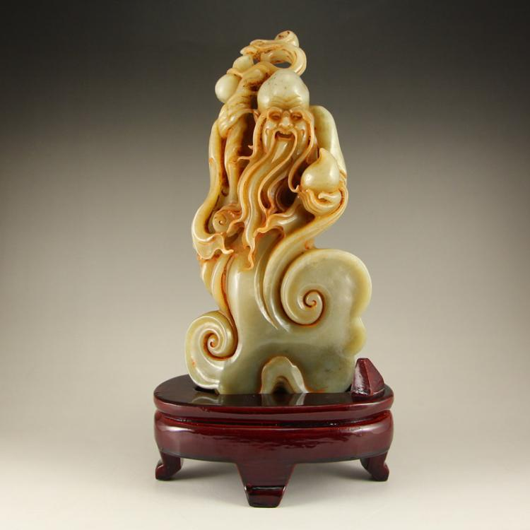 Vintage Chinese Hetian Jade Statue - Longevity Taoism Deity