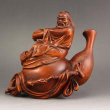 Vintage Chinese Boxwood Wood Statue - Old Man & Gourd