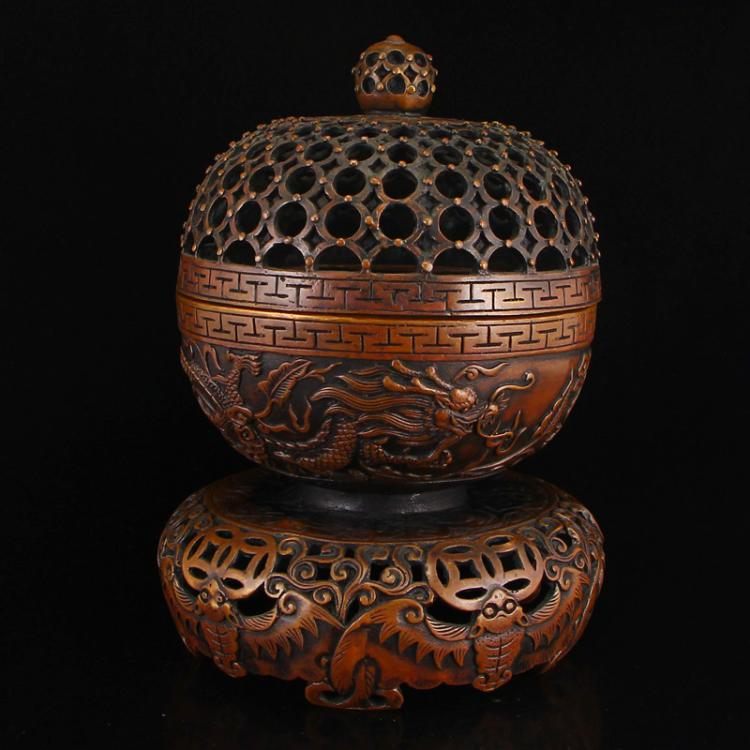 Openwork Vintage Chinese Red Copper Fortune Dragons Incense Burner