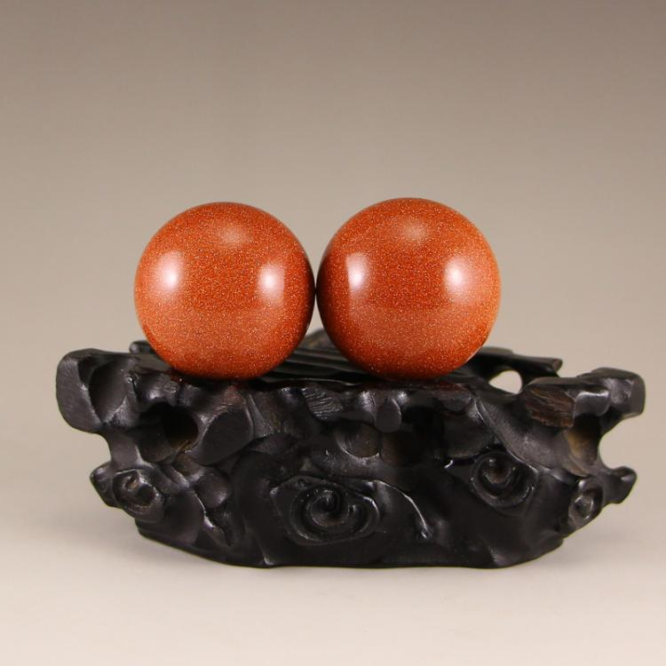 A Pair Chinese Jin Sha Stone Gymnastic Ball
