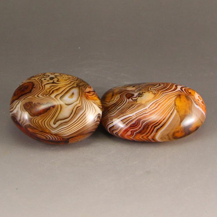 A Pair Chinese Natural Agate Original Stone Gymnastic Ball