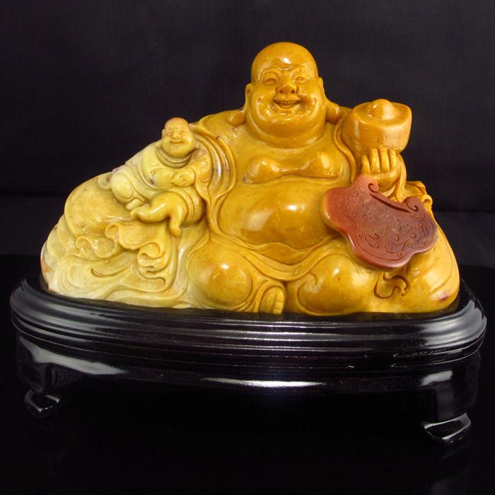 Chinese Shoushan Stone Statue - Laughing Buddha & Fortune Kid