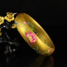 Chinese Gilt Gold Famille Rose Porcelain Bracelet