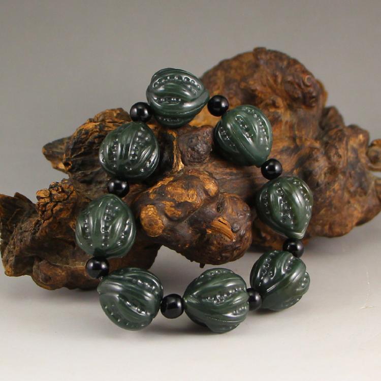 Chinese Natural Green Hetian Jade Beads Bracelet w Certificate