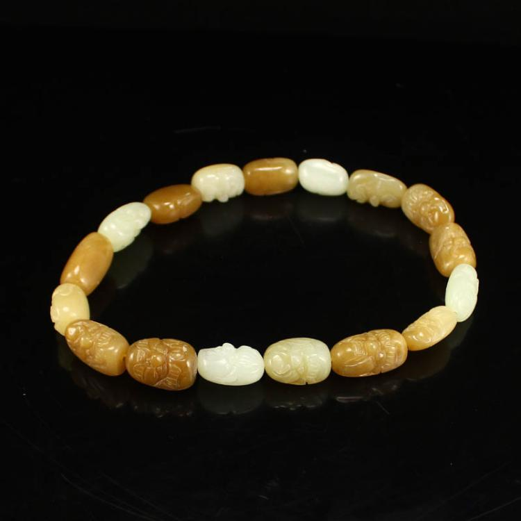 Chinese Natural Hetian Jade Arhat Heads Necklace