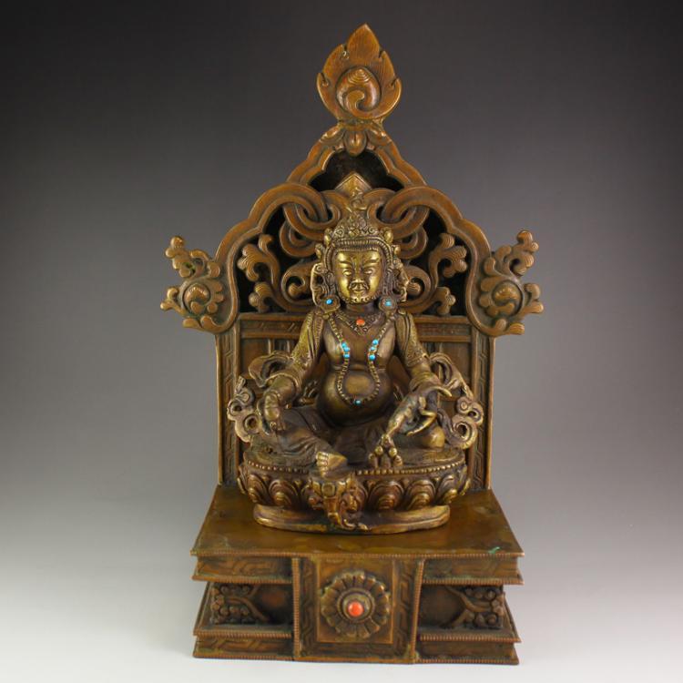 19 Th C Tibet Brass Inlay Turquoise Yellow Jambhala Buddha Statue