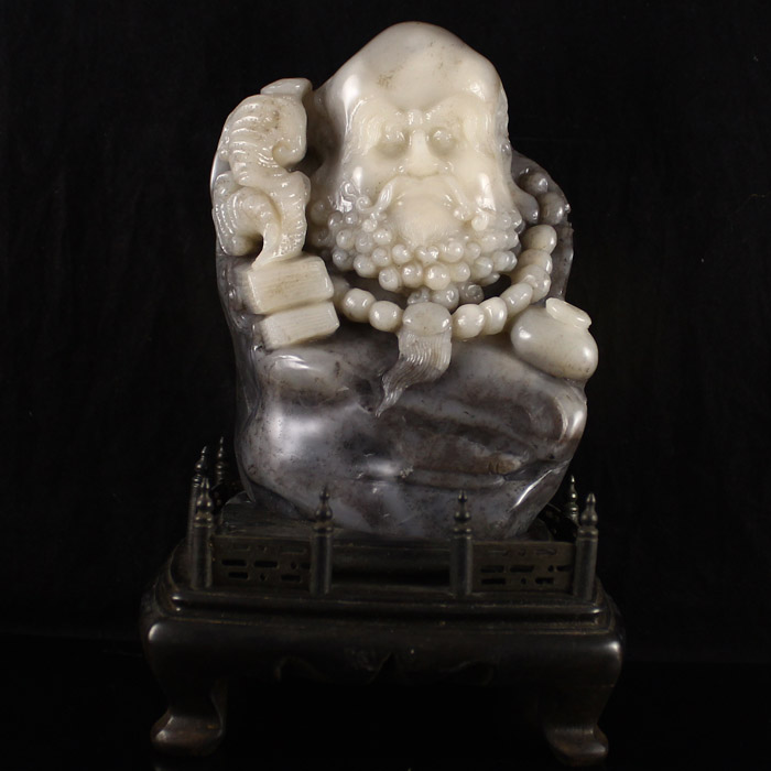 Chinese Natural Shoushan Stone Statue - Dharma