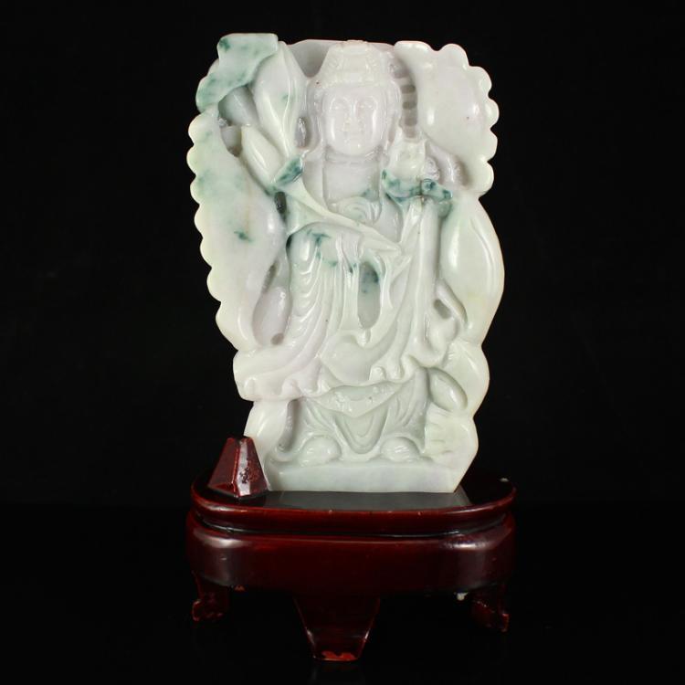 Fine Natural Jadeite Kwan-yin Statue