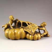 Vintage Chinese Brass Statue - Kids & Pumpkins