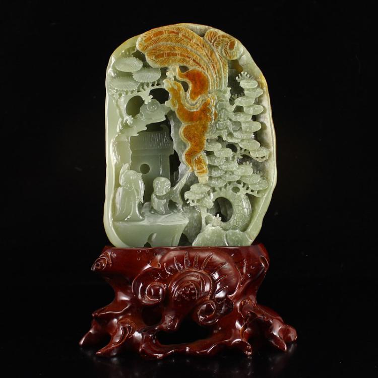 Chinese Natural Hetian Jade Statue - Confucius & Student w Certificate