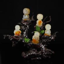 Chinese Natural Agate Statue - Five Fortune Kids