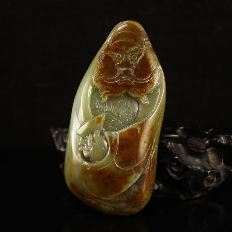 Vintage Chinese Hetian Jade Pendant - Zhong Kui