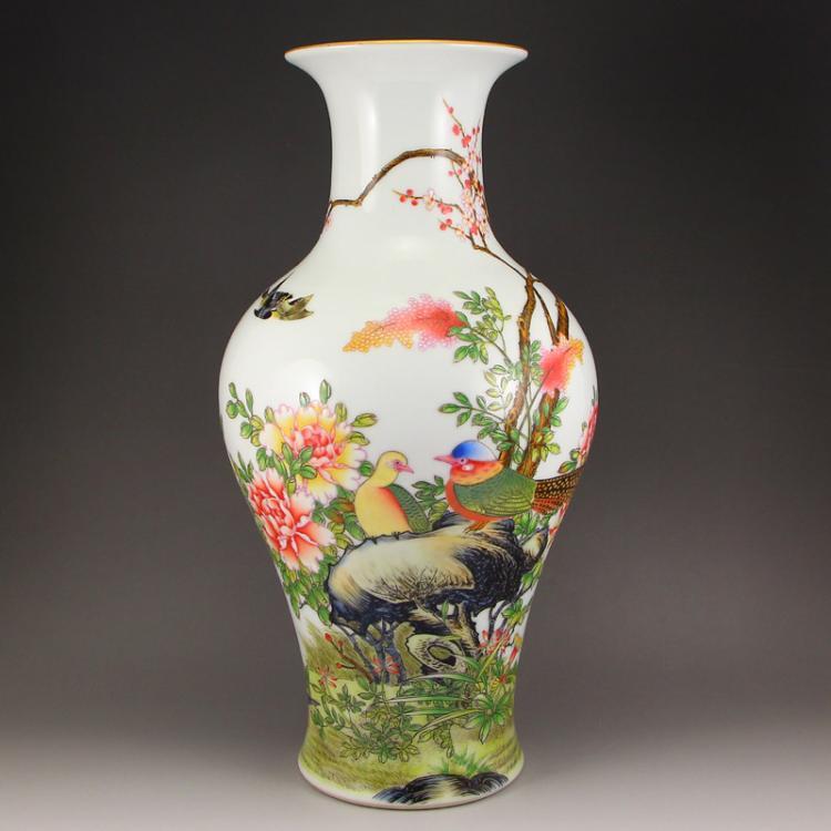 Chinese Qing Dynasty Gilt Edge Famille Rose Porcelain Vase w Yong Zheng Mark