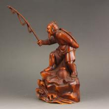 Vintage Chinese Boxwood Wood Fisherman Statue