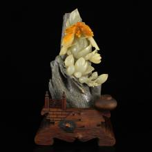 Chinese Shoushan Stone Statue - Magpies & Flower