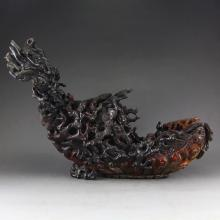 Chinese Qing Dynasty Ox Horn Statue - Boat & Figure