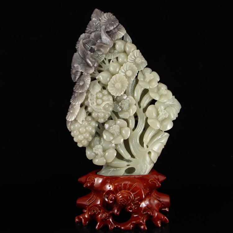 Chinese Natural Hetian Jade Birds & Chrysanthemum Statue w Certificate