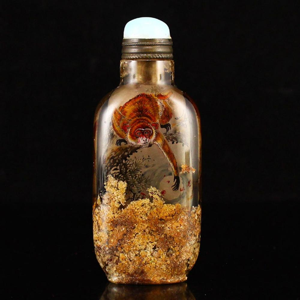 Chinese Qing Dynasty Crystal Inside Painting Monkey Snuff Bottle