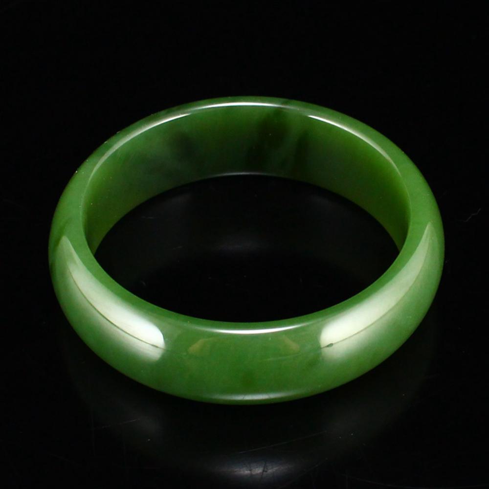 Superb Inside Diameter 58 mm Chinese Green Hetian Jade Bracelet w Certificate
